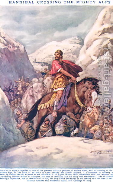 Hannibal-Crossing-The-Mighty-Alps,-Illustration-From-Newnes-Pictorial-Book-Of-Knowledge