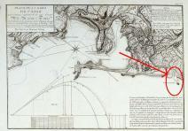 Bahía de Cadiz con la ubicación del islote de Sancti-Petri
