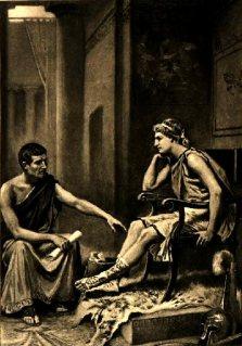 Aristotle tutoring Alexander the Great by J L G Ferris 1895 (public domain)
